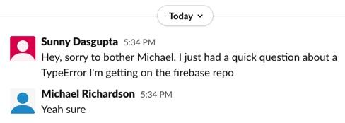 Screenshot of a slack conversation